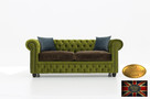 Chesterfield sofa 3 os z zamszu mix rozne kolory - 1