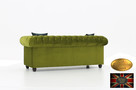 Chesterfield sofa 3 os z zamszu mix rozne kolory - 3