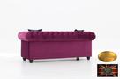 Chesterfield sofa 3 os z zamszu mix kolory - 3