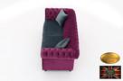 Chesterfield sofa 3 os z zamszu mix kolory - 6