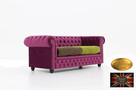 Chesterfield sofa 3 os z zamszu rozne kolory - 3