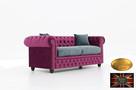 Chesterfield sofa 3 os z zamszu mix kolory - 4