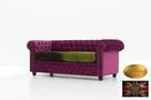 Chesterfield sofa 3 os z zamszu rozne kolory - 2
