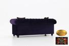 Chesterfield sofa 3 os z zamszu mix - 5