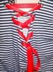 Nowa Bawełniana sukienka w paski pasy tuba wiązana kieszenie - 4