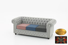 Chesterfield sofa 3 os z materialu mix Pitch - 6