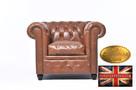 Chesterfield sofa 1 os ze skory Vintage mokka Brighton