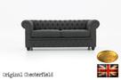 Chesterfeild sofa 3 osobowa z materialu Pitch