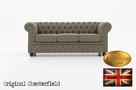Chesterfield sofa 3 os z materialu Pitch bez