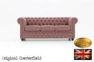 Chesterfield sofa 3 os z materialu Pitch roz - 1