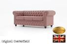 Chesterfield sofa 3 os z materialu Pitch roz - 2