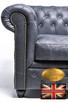 Chesterfield fotel 1 os Vintage czern Skora - 4