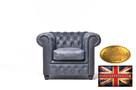 Chesterfield fotel 1 os Vintage czern Skora - 1