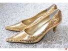 Nowe złote szpilki szpic cekiny 36 vintage sabrina / Sabrin Ślesin
