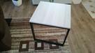 Stolik kawowy ława metal drewno 55x55 na kółeczkach