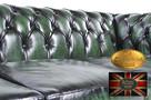Chesterfield sofa 2 os antyczna zielen skora - 2