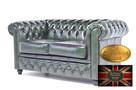 Chesterfield sofa 2 os antyczna zielen skora - 3