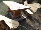 artystyczny zestaw drewnianych mebli ogrodowych z bali, liv