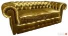 Srebrna/Złota Sofa Chesterfield York głęboko pikowana styl - 6