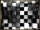 Czarne i białe bloki 3D, OBRAZY, Canvas, Obraz na płótnie