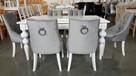 Krzesło krzesła pikowane tapicerowane z kołatką chesterfield - 4