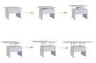 Ława stół ławostół rozkładany podnoszony BIAŁY sonoma wenge - 3