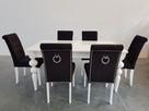 Krzesło nowe tapicerowane pikowane z ćwiekami i z kołatką - 1