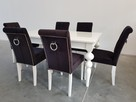 Krzesło nowe tapicerowane pikowane z ćwiekami i z  kołatką - 7