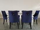 Krzesło pikowane z kołatką tapicerowane granatowe modne