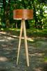 Drewniana lampa stojąca Orzech amerykański Trójnóg Podłogowa