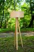 Drewniana lampa stojąca Abażur jesionowy Trójnóg Podłogowa