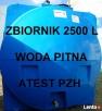 Zbiornik na wodę PITNĄ 2500 L Atest PZH Zielona Góra