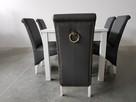 Krzesło krzesła nowe tapicerowane białe siwe z kołatką - 4