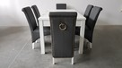 Krzesło krzesła nowe tapicerowane białe siwe z kołatką - 2