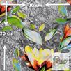 Materiał z nadrukiem wzoru: Kwiat na skalnym tle