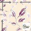Materiał z nadrukiem wzoru Ametystowe liście na kremowym tle