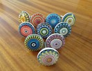 Gałki ceramiczne uchwyty vintage retro orient Indie kolorowe