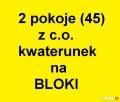 2 pokoje z c.o. kwat. na Bloki