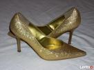 Złote Buty Szpilki Wizytowe j nowe 36 36,5 - 7
