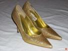 Złote Buty Szpilki Wizytowe j nowe 36 36,5 - 3