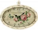 owalny zegar ścienny w stylu retro z motywem kwiatowym - 1
