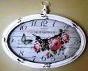 owalny zegar ścienny w stylu retro z motywem kwiatowym - 2
