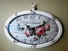 owalny zegar ścienny w stylu retro z motywem kwiatowym - 3