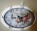 owalny zegar ścienny w stylu retro z motywem kwiatowym - 4