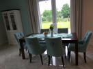 Krzesło z kołatką tapicerowane pinezki ćwieki nity pikowane - 2