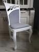 Krzesło prowansalskie tapicerowane białe do salonu jadalni - 4