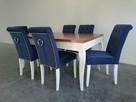 Krzesło granatowe pikowane z kołatką pinezkami tapicerowane