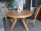 Stół dębowy okrągły LOFT, krzesła, dębowe, tapicerowane.