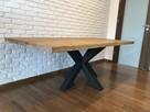 Stół z dębowym blatem w stylu loft industrialny z nogą X
