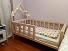 Drewniane łóżko dla dziecka z małym domkiem / Łóżko domek - 3